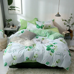 Comforters Flower Print Australia - Nordic Green Plant Flower Printed 4pcs Bed Cover Set Cartoon Duvet Cover Bed Sheets And Pillowcases Comforter Bedding Set 61001