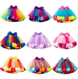 4t rainbow tutu Australia - 2020 INS baby girls tutu dress candy rainbow unicorn Stars color babies skirts with bows decoration kids holidays dance dresses tutus party
