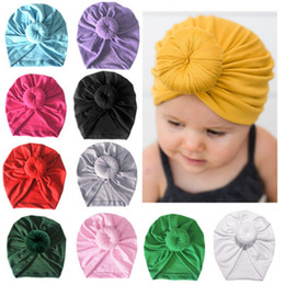 kids cotton headscarf NZ - Baby headscarf Baby hats caps with knot decor kids hair accessories Turban Knot Head Wraps Children Winter Spring beanie 11 color