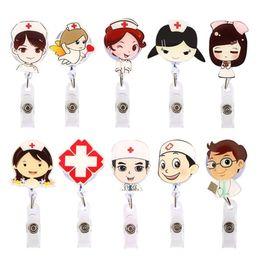 leather id card badge holder 2019 - Cartoon Nurse Doctor Retractable Reel ID Badge Label Name Card Tag Clip Holder Key, Whistle, lanyard Badge Cartoon Nurse