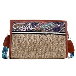 boho bags wholesale NZ - Boho Rattan Bag Straw Beach Bag Women Ethnic Shoulder With Colorful Strap Crossbody Bags For Women