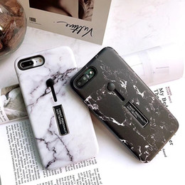 Wholesale 3D Marble Pattern Luxury Designer Case for IPhone X XS MAX XR S Plus I Phone plus plus with Finger Ring Stand Cases Back Cover New
