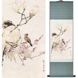 Chinese Floral Paintings Australia - Home Office Decoration Chinese Scroll Painting Birds Painting Printed Painting 052507