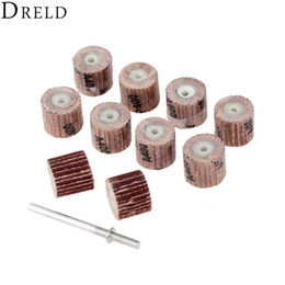 Disc Tools Australia - Abrasive Tools DRELD 10Pcs Dremel Accessories Sandpaper 12mm Grinding Sanindg Flap Wheel Brushes for Woodworking Disc with Mandrel 3mm Shank