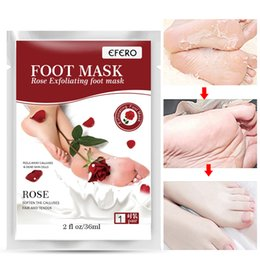 Baby Foot Exfoliating Peel Wholesale Australia - Rose Exfoliating Foot Mask Exfoliator Peel Off Calluses Dead Skin Callus Remover Baby Soft Smooth Touch Feet Care Socks 2pcs=1pair