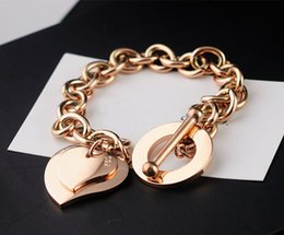 $enCountryForm.capitalKeyWord Australia - Popular jewelry round OT buckle neutral thick bracelet suitable for couples titanium steel plated rose heart-shaped jewelry Free Shipping