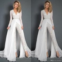 Training Jumpsuits Australia - White Jumpsuits Prom Dresses 2019 Beaded Lace Deep V Neck Formal Evening Gowns Long Sleeve Sweep Train Special Occasion Pants Dress
