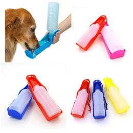 Squeeze Bottles Australia - 250ml Foldable Pet Dog Drinking Water Bottles Travel Hand Held Puppy Dogs Squeeze Water Bottle Dispenser Flip Down Water Pan