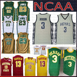 Wholesale Allen 3 Iverson Georgetown Baloncesto Jersey Universidad Irish High School LeBron 23 James 13 Harden NCAA Arizona State Sun Devils College