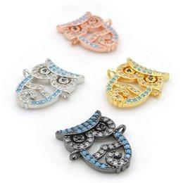 $enCountryForm.capitalKeyWord Australia - 16*12*3mm Micro Pave Clear&Kallaite&Black CZ Owl Connectors Fit For Men Or Women Making Bracelets Jewelry
