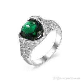 $enCountryForm.capitalKeyWord Australia - Luckyshine 3 Pcs Lot Xmas Jewelry Holiday Party Gift Fire Green Cubic Zirconia Gemstone 925 Sterling Silver Plated Women Wedding Ring Hot