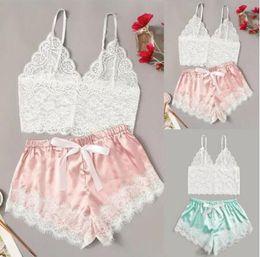 V Neck Solid Sleepwear Summer Women Pajamas Silk Pijamas Sleepwear Lace Short Pants Lingerie Hollowed Underwear Nightdress Set GGA3489-2 on Sale