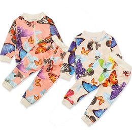 $enCountryForm.capitalKeyWord Australia - 2019 Ins Baby girls long sleeve Butterfly Printed Suits Set Infant Two Piece Casual Sportwear Kids Tracksuits Outfits Children Clothing Set