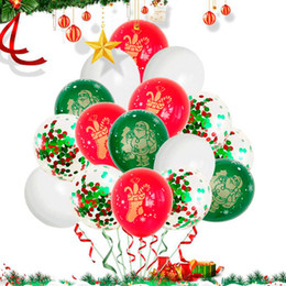 inflatable christmas balls Australia - 12inch Christmas Printing Latex Balloons Confetti Air Balloons Inflatable Ball For Home Merry Christmas Party Decorations