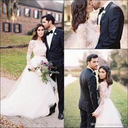 $enCountryForm.capitalKeyWord Australia - Newest 2019 2 Piece Wedding Dresses Long Sleeve Bateau Neck Wedding Gowns with Lace Applique Garden Bridal Gowns Custom Made