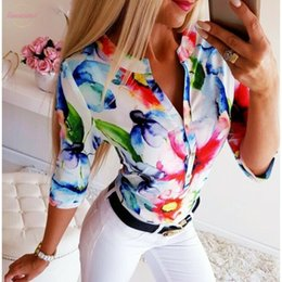 plain black long sleeve t shirts UK - Summer Top Women 3 4 Sleeve Loose T Shirt Floral V Neck T Shirts Ol Ladies Plain Casual Button Blusa Tshirt Women