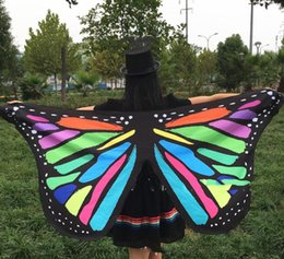 $enCountryForm.capitalKeyWord UK - Colorful Monarch Butterfly Wings Belly Dance Costume Accessories Adults Fairy Cloak Mask For Carnival Dance