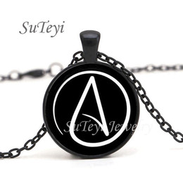 pewter pendant wholesalers Australia - 2017 Hot arrived Atheist Atheism Symbol Silver Pewter Necklace Pendant gifts glass Necklace Pendant Sweater Chain jewelry Gift