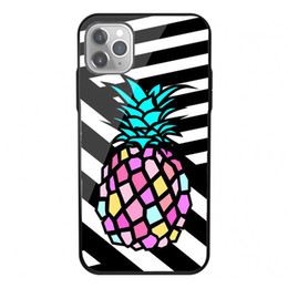 hard case wallet for iphone NZ - Tempered Glass Soft Bumper Hard Funda Case For iPhone 11 Pro XS Max 7 8 Plus 6 6S Plus 5S 5 Back Cover Pineapple Phone Case
