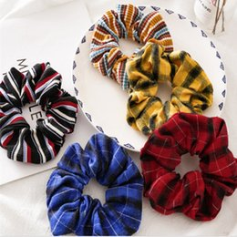 christmas headbands patterns NZ - 5 color Retro Vintage Designs Cotton headband Scrunchies Striped Plaid Pattern Korea Fashion hair band Girls hair accessories CJJ217