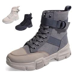 $enCountryForm.capitalKeyWord Australia - Black Canvas PU Ankle Boots Women Martin Bootee Woman 2019 Walk Shoes Ladies Casual Spring Autumn Boots Female Non-Slip Sneakers