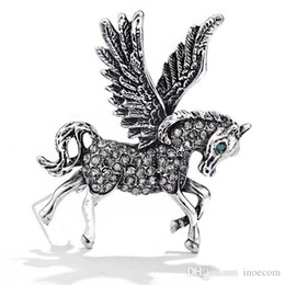 $enCountryForm.capitalKeyWord UK - Vintage Flying Horse Brooches For Women 2019 Fashion Rhinestone Animal Brooch Pin Men's Suit Corsage Brooches Jewelry