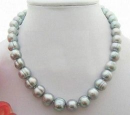 baroque gold south sea pearls UK - Wholesale stunning12- 13mm baroque south sea silver grey pearl necklace 18 inch 14k gold clasp