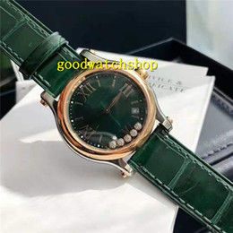 italy quartz watches Canada - Top HAPPY DIAMONDS Woman Watches Women Diamond Watch Swiss Quartz Movement Sapphire Crystal 18k Rose Gold Case Green Italy Leather Strap
