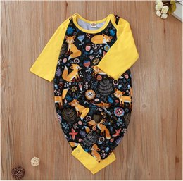 fox jumpsuit Australia - Baby Long Sleeve Foxes Birds Print Romper Girl Cartoon Print Jumpsuit Kids Clothes One Piece ZHT 321