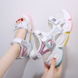 thick sole sandals Australia - Fashion Platform Sandals Female Summer 2020 Women Thick Bottom Rainbow Sole Hook & Loop Shoe Wedge With Open Toe Platform Shoes