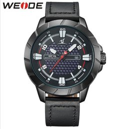 Wholesale WEIDE UV1608 fashion wild men s watch simple honeycomb eye large dial leather high quality Japan quartz movement watch