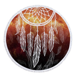 Chinese  Dreamcatcher Round With Tassel Microfiber Polyester 150cm 59.1inch Beach Print As Picture Towel manufacturers