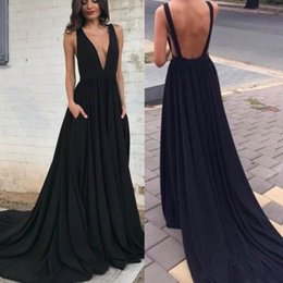 pocket power plus Australia - Sexy Deep V Neck Black Prom Dresses With Pockets Backless A Line Dress Evening Wear Sweep Train Cheap Formal Party Dress