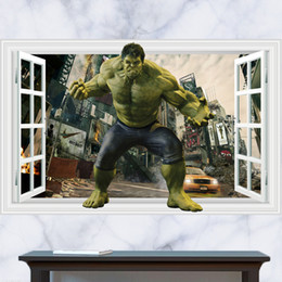 Avengers Wall Stickers Australia - Retail 90*60cm 3D Windows hulk wall with invincible avengers stickers cartoon living room mural