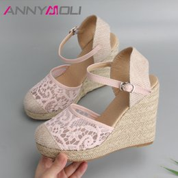 $enCountryForm.capitalKeyWord Canada - Annymoli Platform Wedge Sandals Women Shoes 2019 Espadrille High Heels Bohemia Lace Wedding Shoes Ladie Sandals Plus Size 34-43 Y19070103