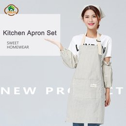 $enCountryForm.capitalKeyWord NZ - MSJO Kitchen Apron Set Cotton Cook Cute Stripe Aprons for chefs Gardener Bib Set Sleeve Hat Suit Women Coffee Barista Apron Kit
