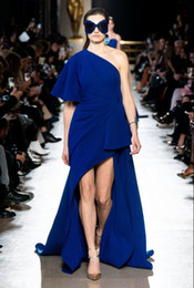 dress inspired elie saab NZ - Elie Saab glamorous ruched royal blue Prom Dresses with Art Deco-inspired one shoulder elegant evening formal gowns hi-lo long custom made
