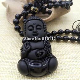 Black Bead Pendants Australia - Natural obsidian Drop Shipping Obsidian Necklace Pendant Beads Curtain jewelry Obsidian Scrub Pendant Black Buddha Pendants Transhipped Budd