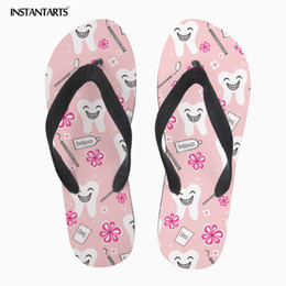 women cartoon flip flop NZ - INSTANTARTS Summer Pink Slippers for Teen Girl Women Casual Beach Water Shoes Cartoon Dentiseeth Print Ladies Flip-flops Plus