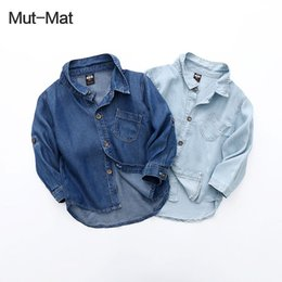 Long Shirts Designs Jeans Australia - Super silky children silk denim long-sleeved shirts spring news dual-use sleeve design boys and girls jeans coats
