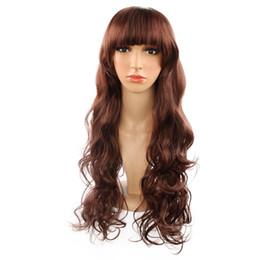 $enCountryForm.capitalKeyWord UK - Korean style Hot sales dark brown color 26 inch long wavy beauty fringe bangs wigs for girls students