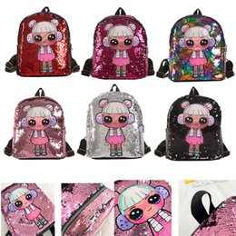 $enCountryForm.capitalKeyWord Australia - Free DHL New Girls Handbags Sequin Dolls Backpack Cute Cartoon Backpacks Kids Toys Designer Storage Bags Hop-Pocket Xmas Gift Bag M132F