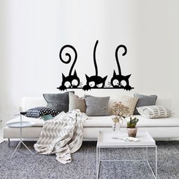 Animal Wall Stickers For Kids Bedrooms Australia - Three Cats Animal Wall Stickers Cartoon Wall Mural for Kids Rooms Nursery Bedroom Wallpaper Removable Wall Decals Art Home Decor