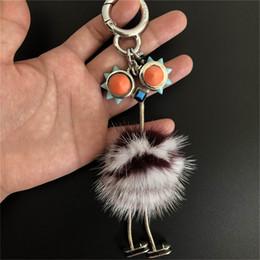 $enCountryForm.capitalKeyWord Australia - Burgundy White-Genuine Real Fur Ostrich Monster Robot Doll Toy Charm Fur Pompom Ball Bag Charm Key Chain Keyring bag car phone Accessories
