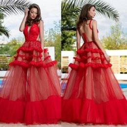 caacebe37e Satin maxi SkirtS online shopping - 2019 Red See Through Prom Dresses A  Line Deep V