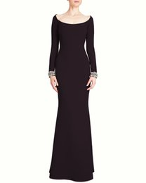 $enCountryForm.capitalKeyWord UK - 2019 Black Mermaid Mother of the Bride Dresses With Long Sleeves Scoop Neck Zipper Back Beaded Mother's Dresses Wedding Guest Dress Cheap