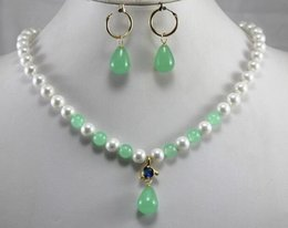 light green jewelry sets NZ - Prett Lovely Women's Wedding engagement and party jewelry sets 8mm white shell pearl dotted with light green gem necklace match