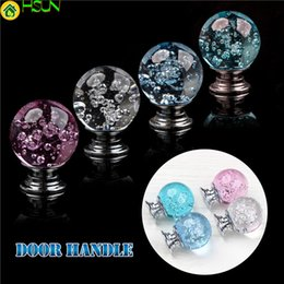Glass Pull Handles Australia - 1pc Crystal Glass Cabinet Pulls Round Drawer Bubble Alloy Door Knobs Kitchen Cupboard Single Hole Handles For Furniture Hardware