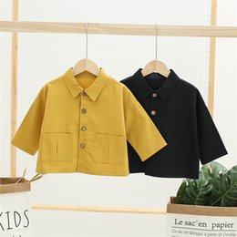child buttons Australia - Newest INS Kids Boys Girls Coat Autumn Spring Cartoon Lioen Letters Turn-down Collar Stylish Front Buttons Pockets Children Outwears Jackets