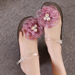 $enCountryForm.capitalKeyWord NZ - Pearl Flower Flat Heel Beach Sandals Women New Plastic Jelly Shoes Summer Female Transparent Crystal Sandalias Flip-Flops AWS182